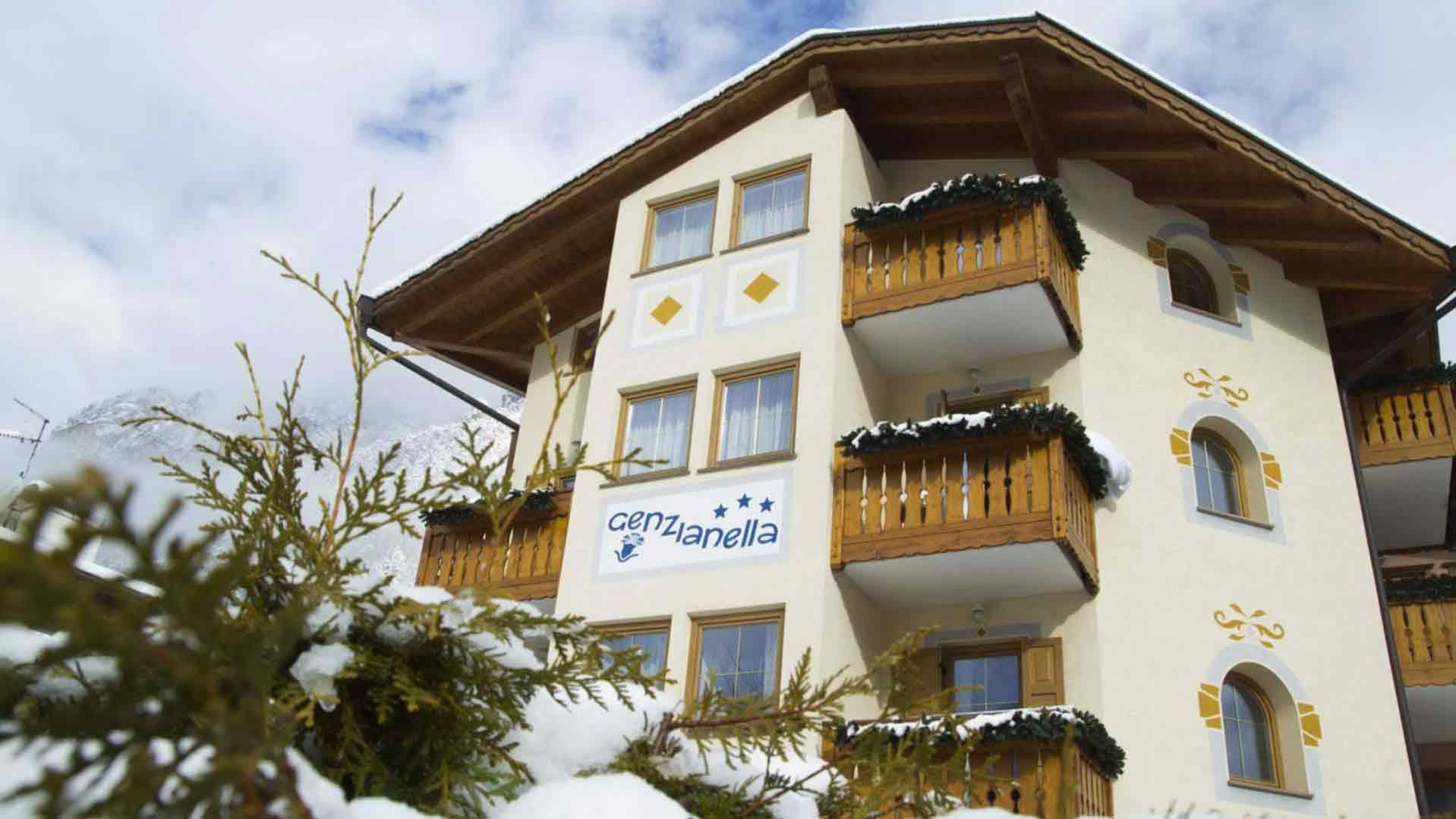 Panorama invernale Hotel Genzianella Ziano di Fiemme Val di Fiemme
